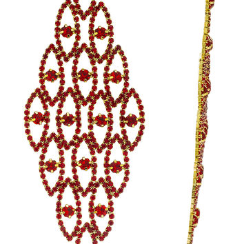 Fancy Style Extra Large Long Earrings with Rhinestones and Clear Stones (Goldtone w/ Red)