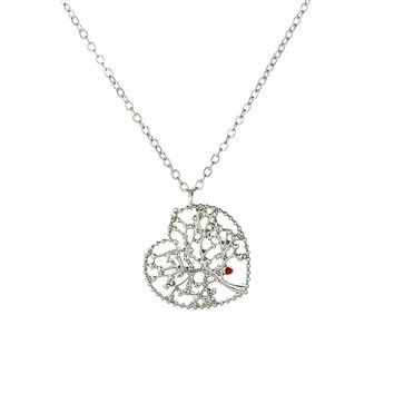 TOGORY Love Tree Pendant Necklaces Classic Silver Plated Pandora Necklace for Women Fashion Jewelry