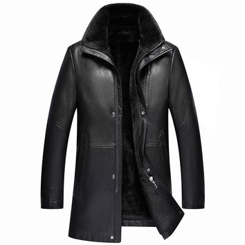 Men's Jacket Leather Shearling Winter Warm Velvet Leather Jacket Men M-3XL