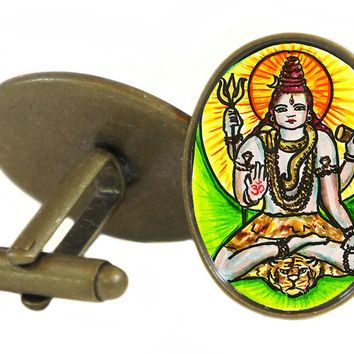 "Lord Shiva of Supreme Consciousness 1"" Oval Pair of Cufflinks"