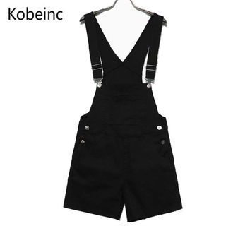 Candy Color White Black Pink Shorts Overalls College Wind Slim Casual Summer Denim Bodysuit Women Loose Simple Straps Jumpsuit