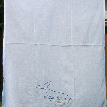 Flour sack towels, Blue Whale Flour Sack Tea Towels, Dish Towels, Vintage Style, Flour Sack Towels, Hand Embroidered, Sea Creature