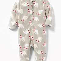 Patterned Performance Fleece Footed One-Piece for Baby | Old Navy