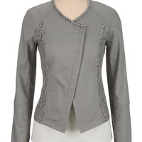 gray snap front moto blazer with lace
