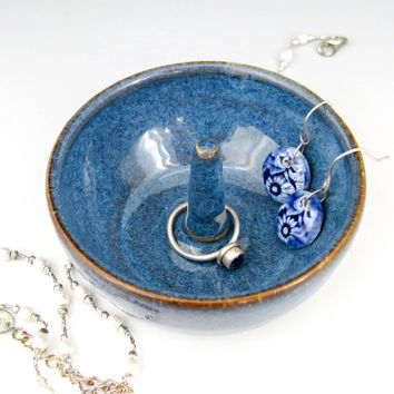 Denim Blue Ring Holder - Ceramic Ring Dish - Ring Holder Dish