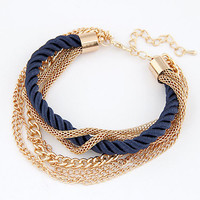 Charm Bracelet for women Fashion Jewelry Gold Chain Braided Rope Multilayer Bracelets & Bangles for Women Pulseira New 2014