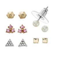 LC Lauren Conrad Geometric Stud Earring Set (White)