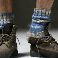 Mens blue striped socks - made to order