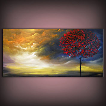art original painting abstract red tree painting by mattsart