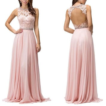 Backless A-Line Chiffon Prom Dresses