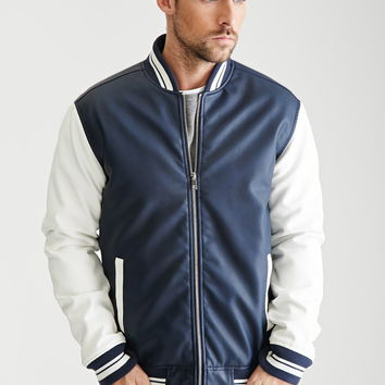Colorblocked Faux Leather Varsity Jacket | 21 MEN - 2000134759