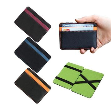 2017 New Brand men's leather magic wallet money clips casual clutch bus card bag for women 10*7*0.8cm man purse