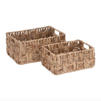 Set of 2 Classic Woven Wicker Baskets
