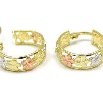 14K YELLOW ROSE WHITE TRICOLOR GOLD HAWAIIAN PLUMERIA HOOP EARRINGS DC BORDER