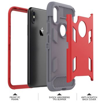 iPhone X Case, WeLoveCase [SUPER ARMOR SERIES] Heavy Duty Shock Absorption Military-Grade Rugged Hybrid Protective Case Anti-Scratch Non-slip Grip Protection Cover for iPhone X - Coral