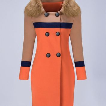 Casual Faux Fur Collar Double Breasted Color Block Woolen Coat