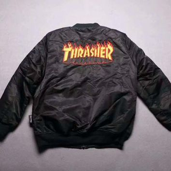 ONETOW Thrasher Flame Air Force Flight Plus Cotton Jacket F-CN-CFPFGYS