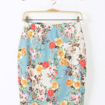 Floral Print High Waisted Skirt
