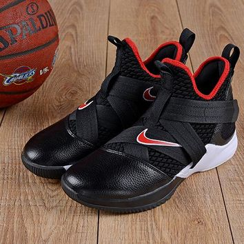 Nike LeBron Soldier 12 Bred Black White Red Sneakers - Best Deal Online