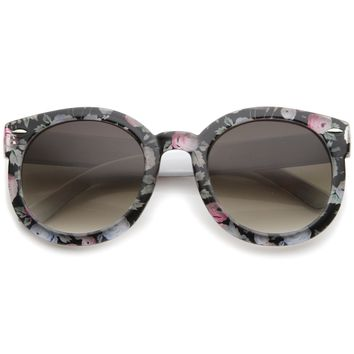 Women's Fashion Floral Printed Gradient Lens Oversized Round Sunglasses 53mm