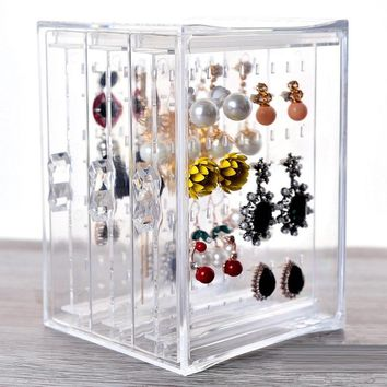 3 layer clear acrylic organizer Jewelry storage rack earring hanging holder for Necklace Ear Studs jewelry store display rack