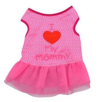 Pet Cat Dog Mesh Dresses Apparel Dog Heart Vest Pet Clothes Puppy Tops Coat Clothes Summer T-shirt XS-L