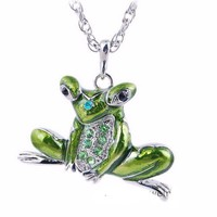 Animal Vintage Enamel  Pendants Frog Pendant Necklace