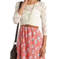 Lace Top Floral A-Line Dress: Charlotte Russe