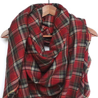 Red Plaid Blanket Scarf, Burgundy Blanket Scarves, Winter Scarf, Cotton Scarf, Tartan, Plaid Blanket Scarf, Oversized, Christmas Scarf