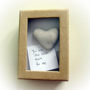 Unique Mother's Day card - a heart shaped rock in a box