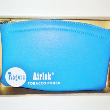 NIB Rogers Airlok Tobacco Pouch Vintage Blue Leather Flavor Seal Zipper Close Standard Model for Full Pack Tobacco Tobacciana Men Accessory