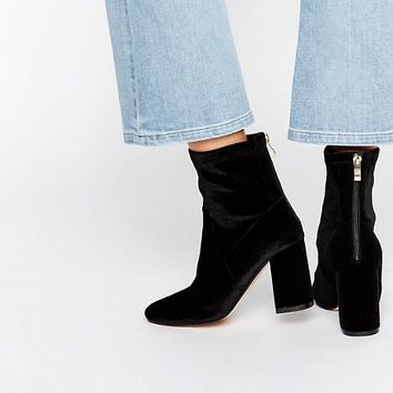 Truffle Unlined Velvet High Ankle Boot at asos.com