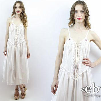 White Nightgown White Nightie Lace up Lingerie Vintage Victoria  a9c8a0912