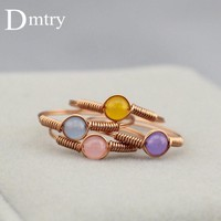 Dmtry Design Fashion Wire Jewelry Rose Gold Couple Love Best Friend Finger Ring For Women Wedding Engagement Friend Gift CR0002