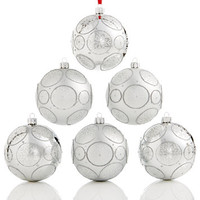 Holiday Lane Set Of 6 Shatterproof Silver-Tone Snowflake Ball Ornaments, Created for Macy's | macys.com