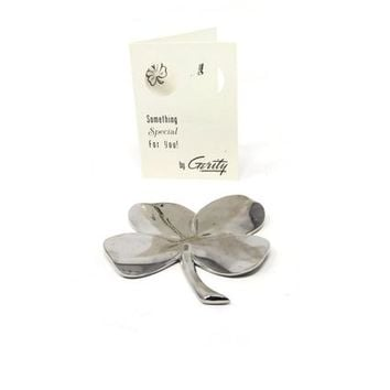 Vintage Lucky Brass Four Leaf Clover by Gerity - Electroplated 24K White Gold