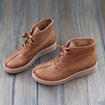 Womens Boots 100% Genuine Leather Ladies Ankle Boots Brown Flat Leather Ankle Boots Spring Autumn Female Footwear (1668)
