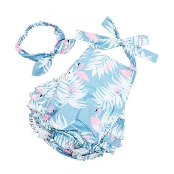 Baby Girl Ruffled Flamingo Rompers & Headband Set Swing Top / 3 color choices
