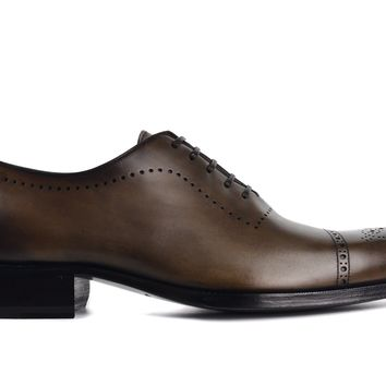 Tom Ford Mens Brown Leather Edgar Brogue Lace Up Oxfords