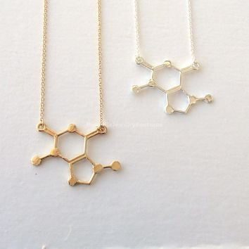 Caffeine Molecule Necklace - Gold & Silver - Unique Science DNA Pendant Necklace for Coffee Lovers