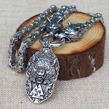 viking Men stainless steel necklace viking wolf head with norse Fenrir wolf  mjolnir pendant norse talisman ethnic jewelry