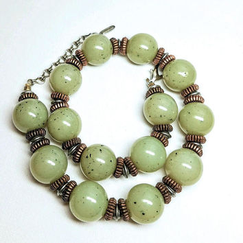BEN AMUN Faux Jade Necklace, Acrylic Art Glass, Copper Tone Spacers, Vintage