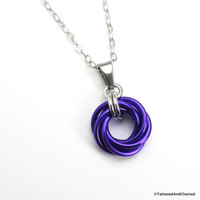Purple chainmaille love knot pendant