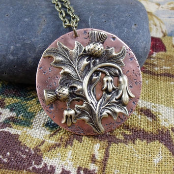 Scottish Thistle pendant necklace, Outlander inspired