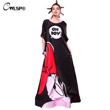Women Evening Party Long Maxi Dress 2017 Spring Mickey Printed Long Sleeve Dresses Sexy Backless Vintage Club Vestidos  QZ1528