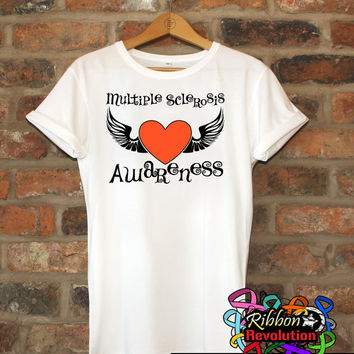 Multiple Sclerosis Awareness Heart Tattoo Wing Shirts