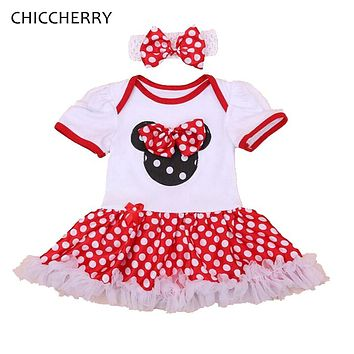 Minnie Birthday Baby Outfits Bow-knot Baby Lace Romper Dress Polka Dots Toddler Tutu Sets Headband Roupa De Bebe Infant-clothing
