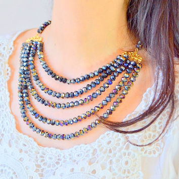 MULTI STRAND NECKLACE, five lines necklace, multi strand necklace, dark navy blue necklace, fashion necklace, statement necklace, tribial