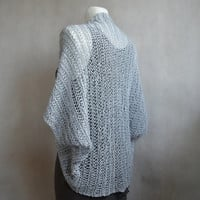 Loose Knit Grey Cocoon Shrug, Women Loose Knit Sweater, Loose Knit Cocoon Cardigan, Hand Knitted Shrug, Alpaca and Cotton Blend Wrap