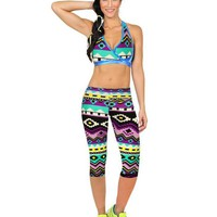 High Waist Fitness Pants Printed Stretch Cropped Leggings Cool Colors Multicolor Geometric Pattern #3546